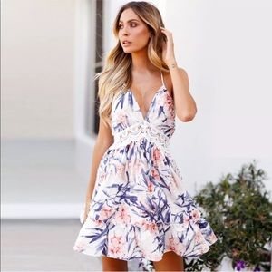 Dresses & Skirts - florals flare flowy lace trim summer mini dress